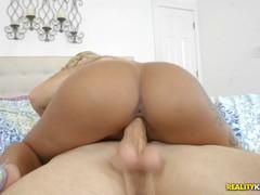 Nicki Woods riding on a massive dick