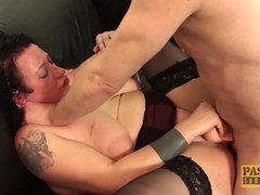 Horny UK big babe anally punished by masters big cock
