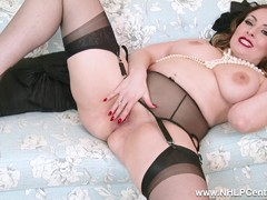 Brunette in lingerie spreads nylon legs fingers wet pussy