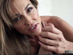 Sexy Aubrey Black wraps her lips around hard cock POV style
